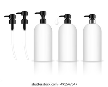 Cosmetic plastic bottle with dispenser pump. Liquid container for gel, lotion, cream, shampoo, bath foam. Beauty product package. Vector illustration.