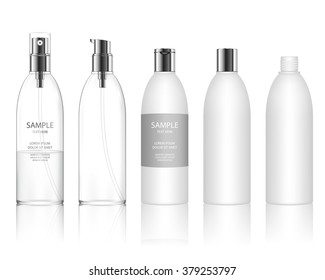 Cosmetic plastic bottle isolated on white background. Liquid container for gel, lotion, cream, shampoo, bath foam. Beauty product package, vector illustration.