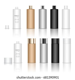 Cosmetic plastic bottle. Liquid container for gel, lotion, cream, shampoo, bath foam. Beauty product package. Vector illustration.