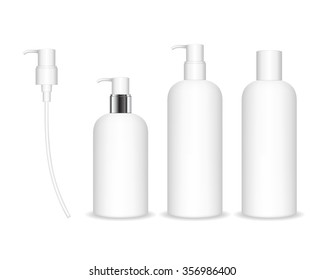 Cosmetic plastic bottle with white dispenser pump. Liquid container for gel, lotion, cream, shampoo, bath foam. Beauty product package, vector illustration.