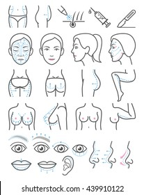 Cosmetic plastic surgery icons. Vector illustration.