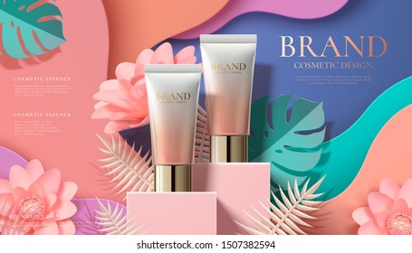 Cosmetic plastic tube ads on square podium and paper art flowers in 3d illustration