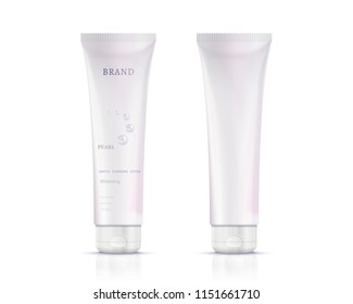 Cosmetic plastic tube container mockup in 3d illustration on white background