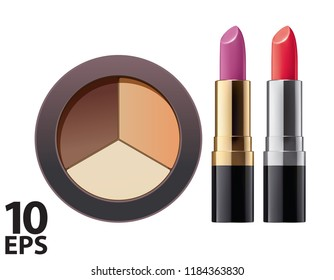 Cosmetic. Powder and lipstick on white. Vector 3d illustration