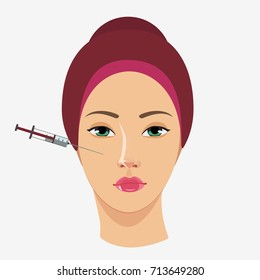 Cosmetic procedure of Botox injection. Isolated on white background. Flat vector stock illustration