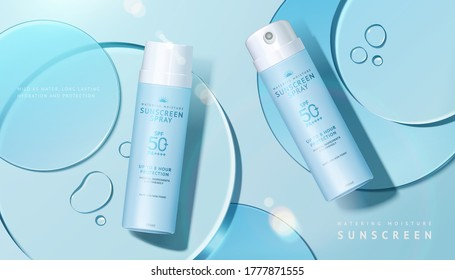 Cosmetic product ad with transparent circle disks, concept of light textured sunscreen, 3d illustration