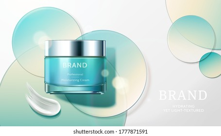 Cosmetic product ad with transparent circle disks, concept of light textured and moisturizing face cream, 3d illustration