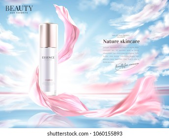 Cosmetic product ads, essence bottle with flying pink chiffon in 3d illustration, natural lighting sky and lake background