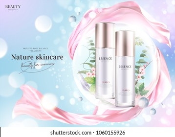 Cosmetic product ads, essence bottles with floral and plants in bubbles and flying pink chiffon in 3d illustration, glittering bokeh background