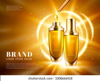 Cosmetic product ads, golden color droplet bottle set with sparkling lights in 3d illustration
