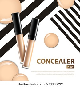 cosmetic product concealer poster, bottle package design with moisturizer cream or liquid, sparkling background with glitter polka, vector design.