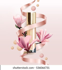 Cosmetic product, Foundation, concealer, cream with flowers. Beautiful  bottle with flowers Magnolia. Beauty and cosmetics background. Use for advertising flyer, banner, leaflet.Template Vector.