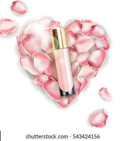 Cosmetic product, Foundation, concealer, cream. on the background of heart of pink rose petals. Beauty and cosmetics background. Use for advertising flyer, banner, leaflet.Template Vector.