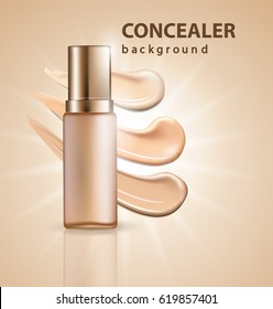 Cosmetic product, Foundation, concealer, cream with smear strokes. Template Vector.