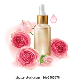 Cosmetic product. Glass bottle for drops and liquid and oils. Beautiful packaging and advertising of a cosmetology product. Roses. Pink water. Oil For Face and Body