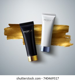 Cosmetic product packaging design. Black and white cream tubes with glossy golden and silver caps on golden paint background. Vector cosmetics illustration. Skincare or beauty fashion mockup concept
