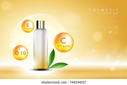 cosmetic product poster, bottle package design with moisturizer and vitamins cream or liquid, sparkling background with glitter polka, vector design.