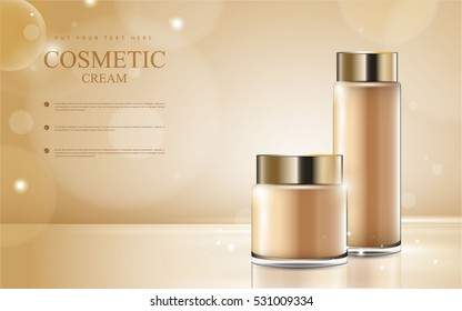 cosmetic product poster, golden bottle package design with moisturizer cream or liquid, sparkling background with glitter polka, vector design.