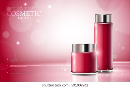 cosmetic product poster, red bottle package design with moisturizer cream or liquid, sparkling background with glitter polka, vector design.