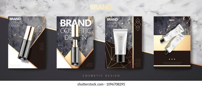 Cosmetic product set on marble stone geometry brochure in 3d illustration