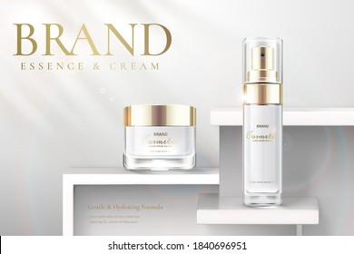 Cosmetic products ad template. Elegant essence and skincare products on white background in 3d illustration.