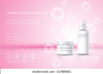 Cosmetic products ad,white bubble background with beautiful containers in vector 3d illustration