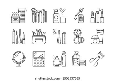 Cosmetic products and professional facial makeup line black icons set. Feminine skincare signs. Beauty industry. Pictogram for web page, mobile app, promo. UI/UX/GUI design element. Editable stroke.