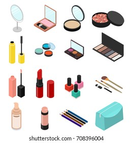 Cosmetic Products Set for Woman Makeup or Skin Care Isometric View Include of Powder, Mirror, Lipstick, Eyeshadow and Brush. Vector illustration of Element Cosmetic Bag