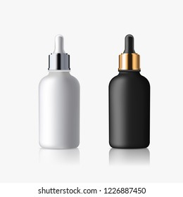 Cosmetic realistic 3d white and black matte bottle dropper tubes on white background.  Vector 3d illustration for design  placard, presentation, banners and cover.