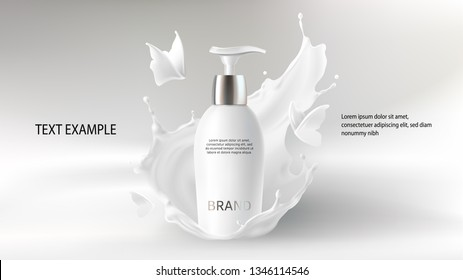 Cosmetic realistic vector background with cream. Skin care cosmetics, body lotion in white bottle with silver dispenser in milk splash, crown with flying butterfly. Mock-up promo banner, poster