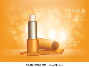 Cosmetic realistic vector lip balm ad background. Yellow hygienic lipstick with honey drips, organic cosmetics, natural spa formula with propolis for skincare. Mock up for magazine or catalog