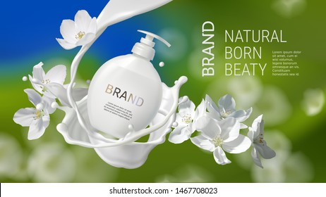 Cosmetic realistic vector poster with cream or milk swirl, splash and jasmine flowers. Skin care cosmetics, body lotion, washing gel or liquid soap in white bottle with pump on a natural background