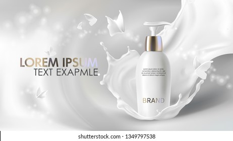 Cosmetic realistic vector shining background with cream. Skin care cosmetics body lotion in white bottle with silver dispenser in milk splash, crown with flying butterflies Mock-up promo banner poster