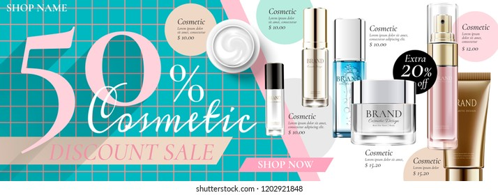 Cosmetic sale banner ads with products in 3d illustration on geometric background