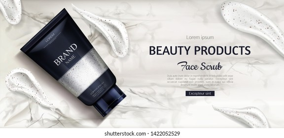 Cosmetic scrub bottle mockup, beauty cosmetics product for face care on marble background with cream smear brush strokes. Tube package design, promo template. Realistic 3d vector illustration, banner