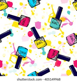 Cosmetic seamless vector pattern. Nail polish sketch texture. Summer neon background. Fashion background with nail polish blots