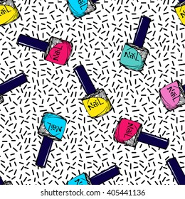 Cosmetic seamless vector pattern. Nail polish sketch texture. Summer neon background. Fashion background with nail polish and geometric elements.