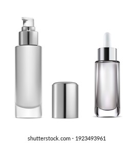 Cosmetic serum dropper bottle. Essential water pump bottle. Clear glass skincare flask with eyedropper. Collagen product dropper flacon illustration. Beauty base moisture template