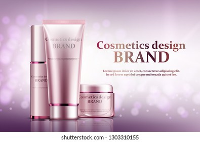 Cosmetic set ads, light pink package design on pink background with glittering bokeh elements in vector illustration