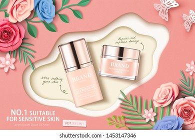 Cosmetic set ads with paper flowers in 3d illustration, top view