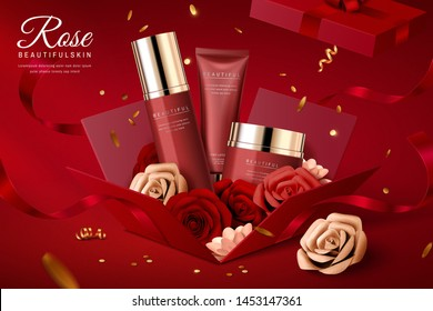 Cosmetic set ads with paper flowers in gift box, 3d illustration