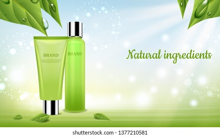 Cosmetic set with green leaves and Dandelion flowers