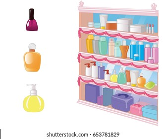 Cosmetic set. Isolated objects and shelf with bottles. Beauty shelf. Vector illustration