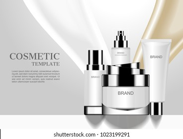 Cosmetic set with pouring milk and liquid gold background, vector cosmetic ads mockups