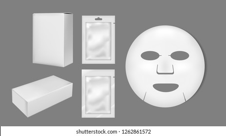 Cosmetic sheet mask. Blank foil or plastic sachet and box for medicines.