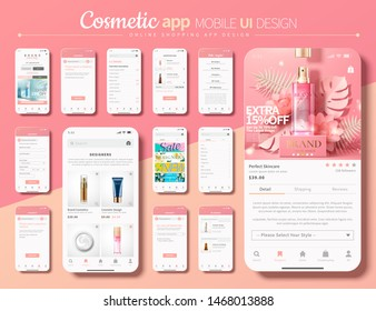 Cosmetic shopping app mobile UI design in pink and white tone, 3d illustration