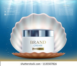 Cosmetic skin care cream with seashell. Packaging brand design. Stock vector illustration.