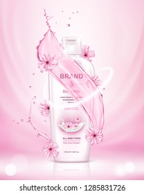Cosmetic skin care product with sakura isolated on pink background. Realistic vector illustration