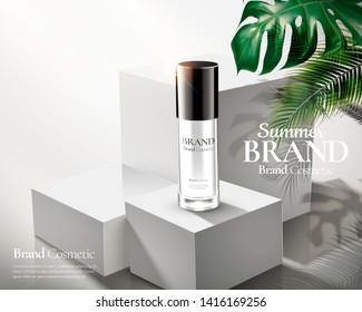 Cosmetic skincare ads on white square stage with tropical leaves in 3d illustration