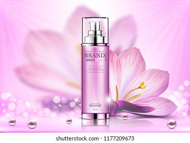 Cosmetic spray ads, pink bottle with flower isolated on bokeh glittering background, vector illustration